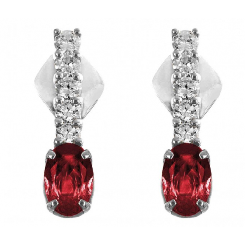Burmese Ruby And Diamond Ring Set in White Gold ( 0.79ct Ruby)