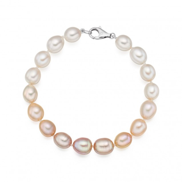 Freshwater Pearl Bracelet Made In 14K White Gold