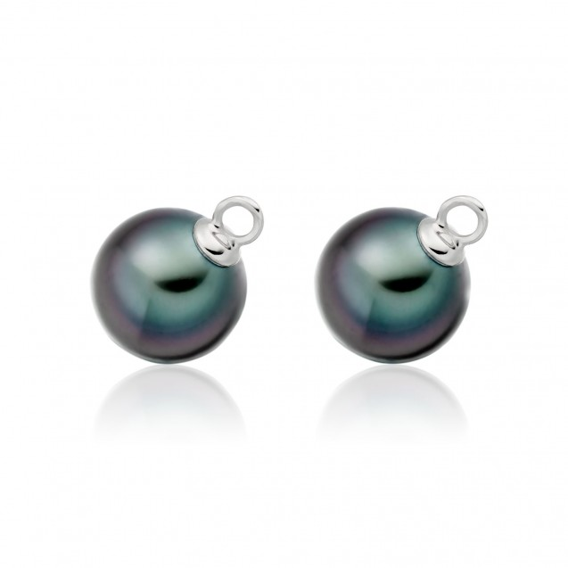 Tehitian Pearl Earring Made In 14K White gold