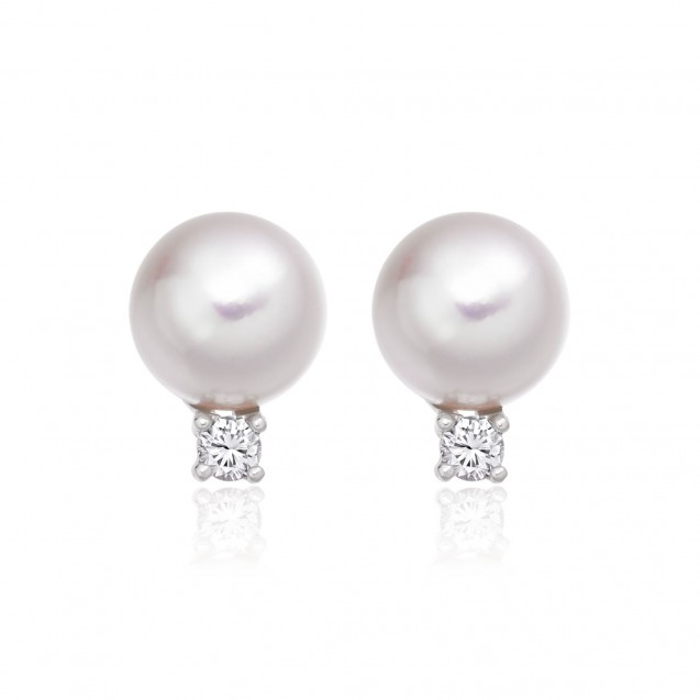 Freshwater Pearl Earring Made In 14K White Gold