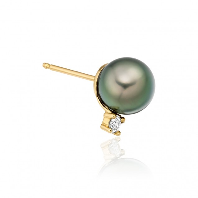 Tehitian Pearl Earring Made In 14K Yellow Gold