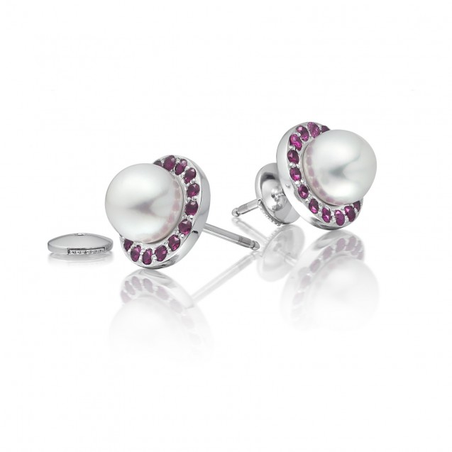 Freshwater Pearl With Pink Ruby Earring Made In 14K White Gold