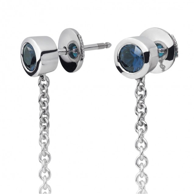 Freshwater Pearl With Blue Sapphire  Earring Made In 14K White Gold