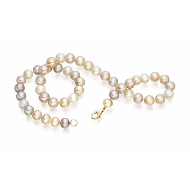 Freshwater Pearl Necklace Made In 14k Yellow Gold