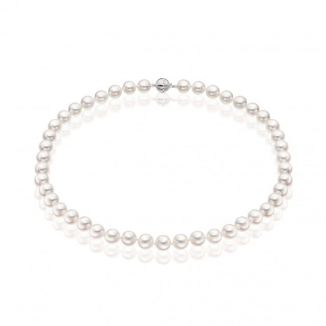 Freshwater Pearl And Diamonds Necklace Made In 14K White Gold