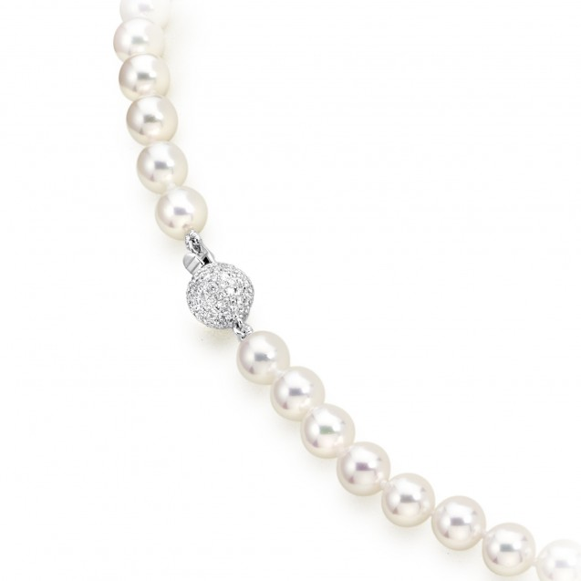 Freshwater Pearl And Diamond Necklace Made In 14K White Gold