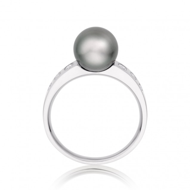 Tehitian Pearl and Diamond Ring Made In 14K White Gold