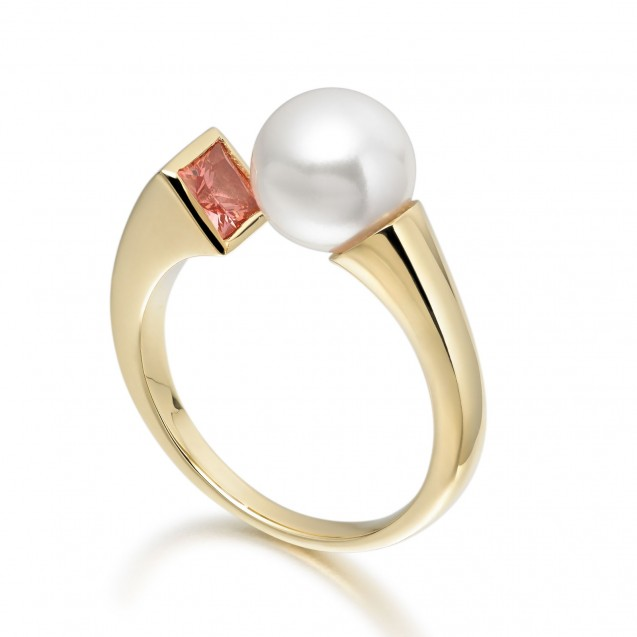 Freshwater Pearl And Orange Sapphire Ring Made In 14K Yellow Gold