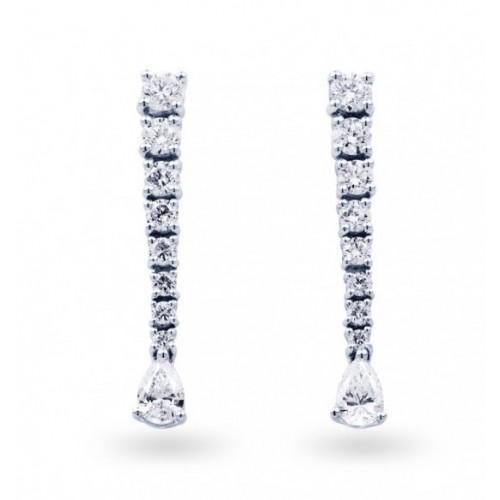 Diamond Drop Earrings In White Gold (0.69 Ct)