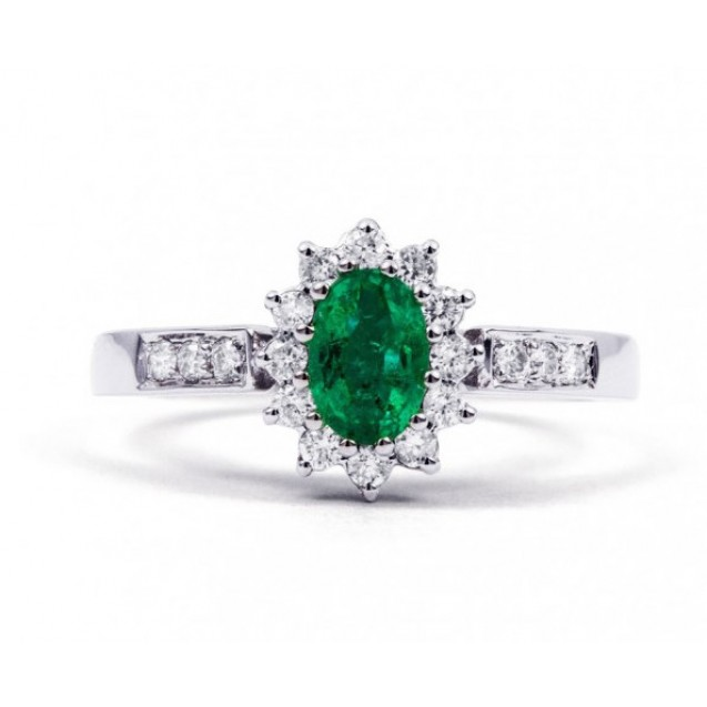 Emerald And Diamond Ring Set in White Gold ( 0.45ct Em)