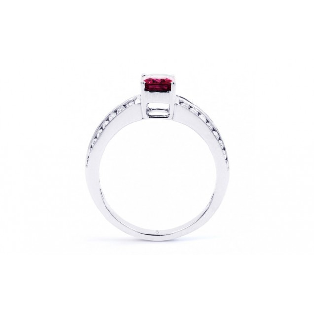 Burmese Ruby And Diamond  Ring Set in 14k White Gold ( 1.15ct Ruby)