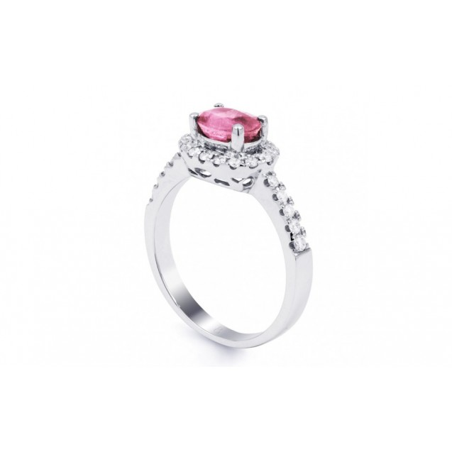 Pink Sapphire And Diamond  Ring made in 14k White Gold ( 0.6ct PS)