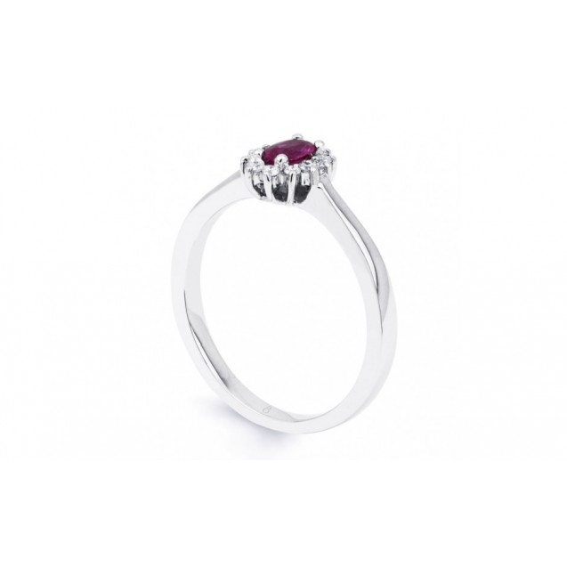 Pink Sapphire And Diamond Ring made in 14ct White Gold ( 0.28ct Ps)