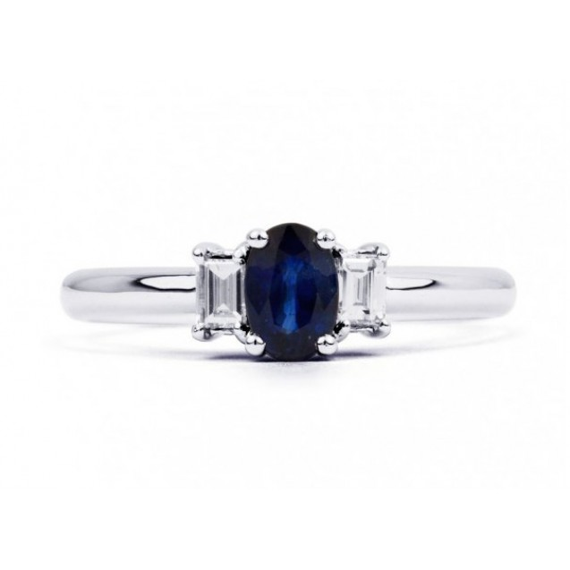 Blue Sapphire and Diamonds set in 14k White Gold (0.52ct Bs)