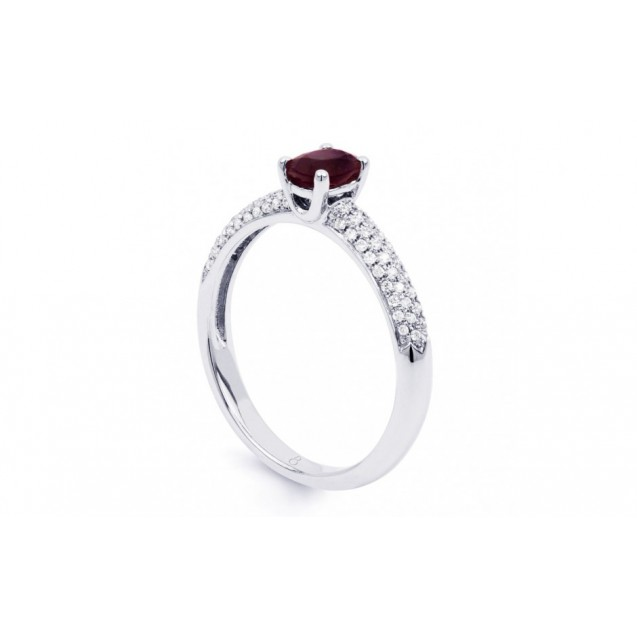 Burmese Ruby And Diamond Ring Set in 14k White Gold ( 0.47ct Ruby)