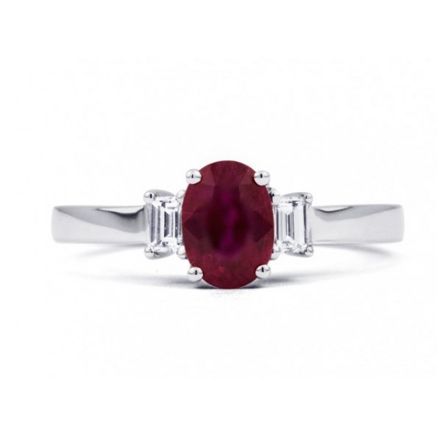 Burmese Ruby ring with Baguette Diamonds made in 14k White Gold (1.01 ct Ruby)