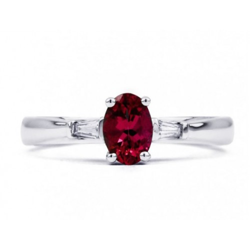 Burmese Ruby And Diamond  Ring Set in 14k White Gold( 0.6ct Ruby)