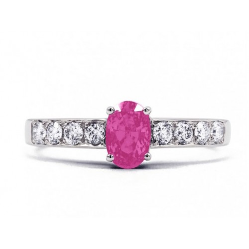 Pink Sapphire And Diamond  Ring Set in 14k White Gold ( 0.35ct PS)