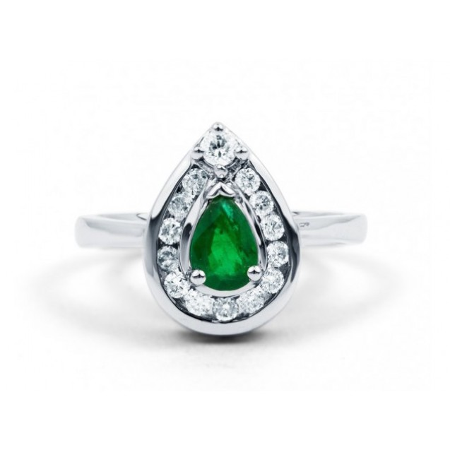 Vintage Tear-Drop Cut Emerald with Diamonds in 14k White Gold (0.41 ct Em)