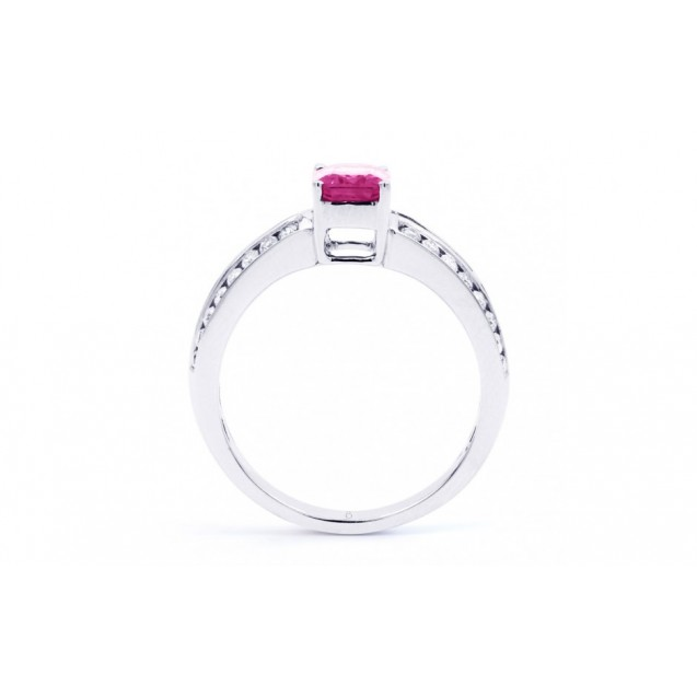 Pink Sapphire And Diamond  Ring Set in 14k White Gold ( 1.15ct PS)