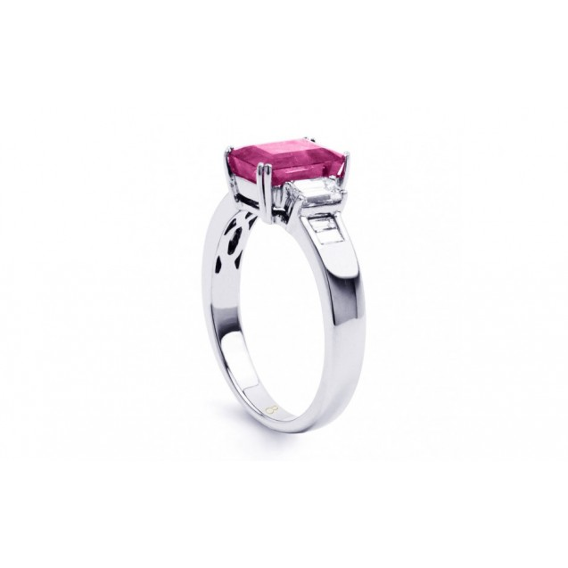 Pink Sapphire And Diamond Ring made in 14k White Gold (1.6ct Ps)
