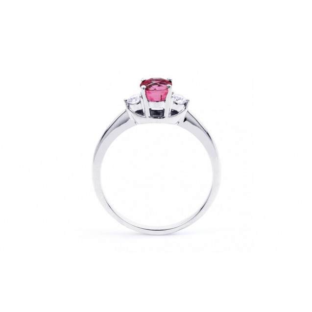 Pink Sapphire And Diamond Ring Set in White Gold ( 1ct Ps)