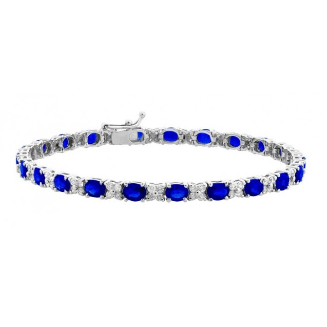 Blue Sapphire Bracelet made in 18k White Gold ( 6.25cts BS)
