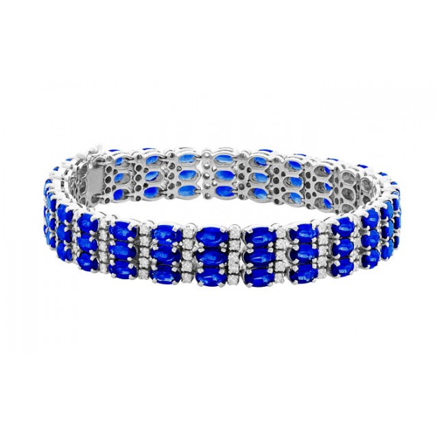 Blue Sapphire Bracelet made in 18k White Gold ( 21.67cts Bs)