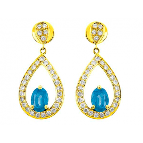 Blue Topaz And Diamond  Earrings In 18k Yellow Gold (1.66Ct BT)