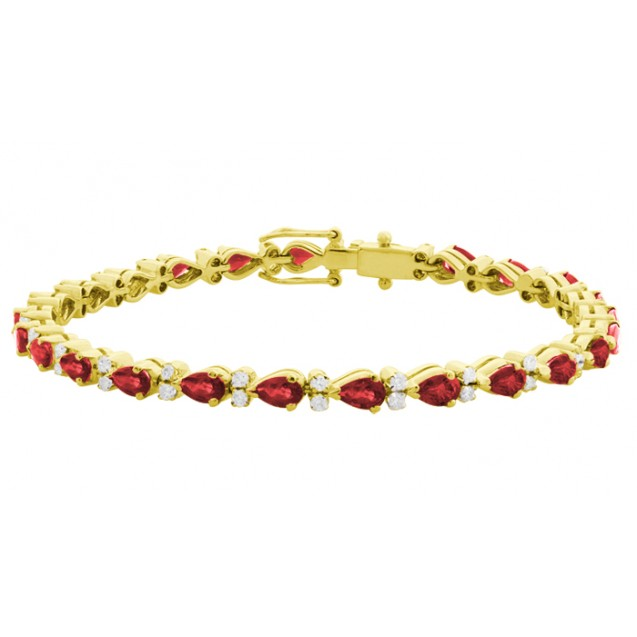 Burmese Ruby Bracelet made in 14k Yellow Gold ( 6.01cts Ruby)