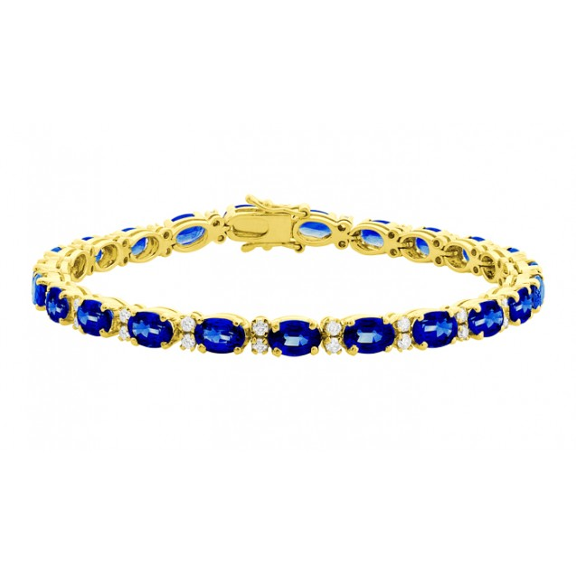 The Blue Sapphire And Diamond Big Tennis Bracelet Made in 18k Yellow Gold ( 13.9cts Bs)