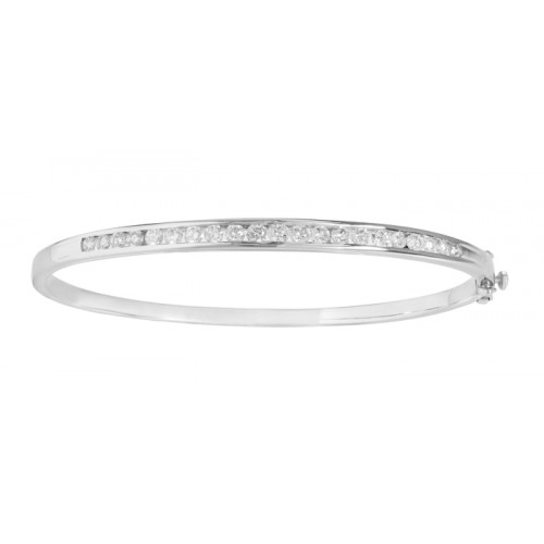 Diamond Bangle made in 14k White Gold(1.46ct)