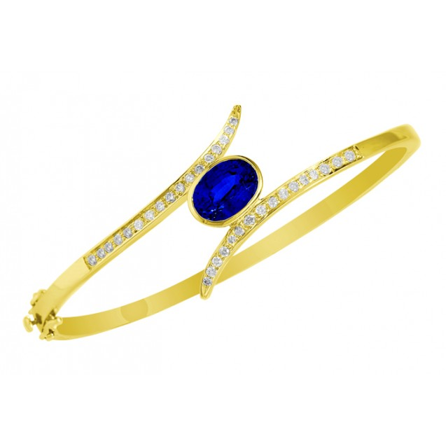 Blue Sapphire Diamond Bangle made in 14k Yellow Gold(2.7ct BS)