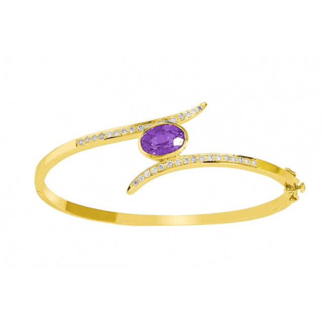 Amethyst Diamond Bangle made in 14k Yellow Gold(2.7ct)