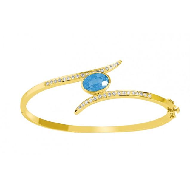 Blue Topaz Diamond Bangle made in 14k Yellow Gold(2.7ct BT)