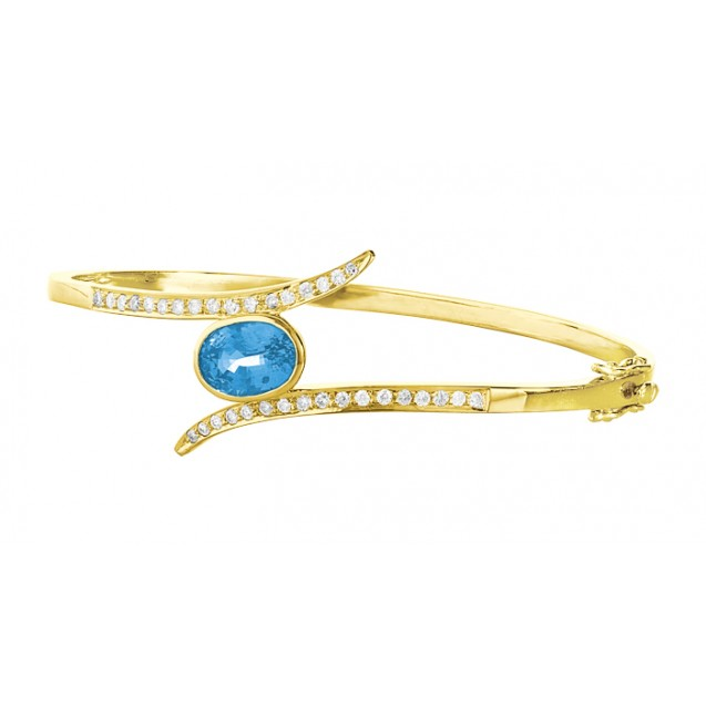 Blue Topaz Diamond Bangle made in 14k Yellow Gold(2.7ct BT)