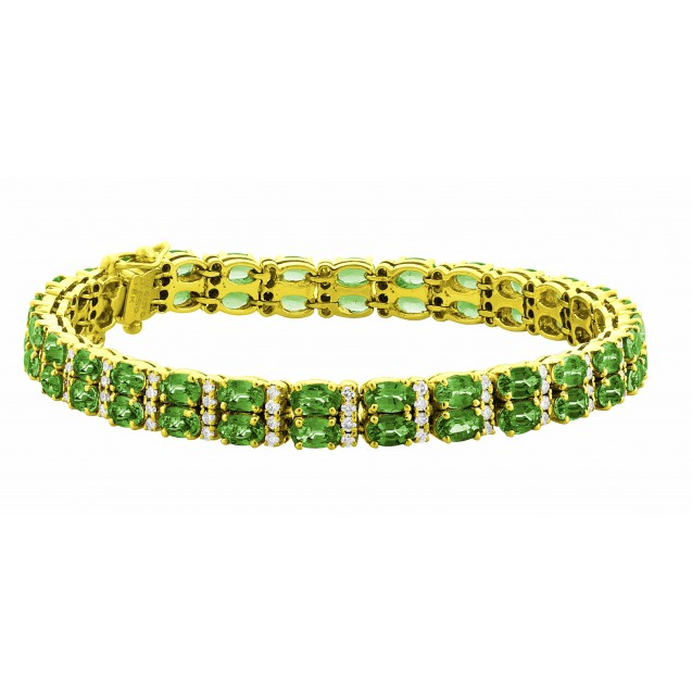 Double Row Emerald Bracelet made in 18k Yellow Gold ( 16.5cts Em)