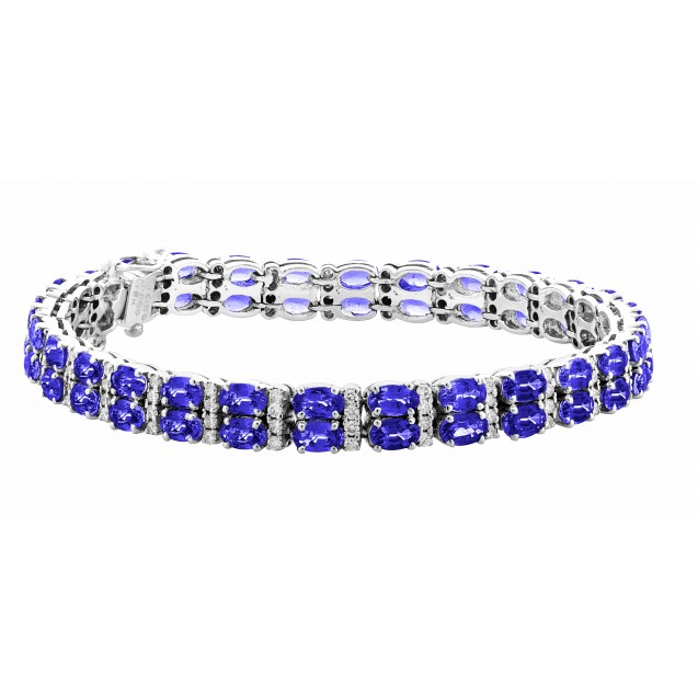 Double Row Tanzanite Bracelet made in 18k White Gold ( 16.5cts Tz)