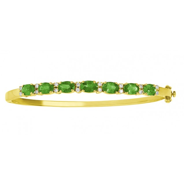 Emerald And Diamond Bangle  made in 18k Yellow Gold ( 3.6cts Em)