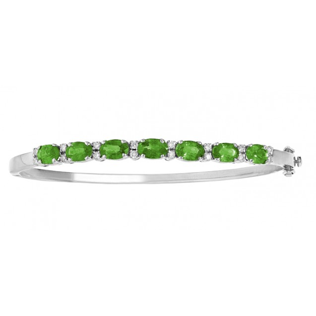 Emerald And Diamond Bangle  made in 18k White Gold ( 3.6cts Em)