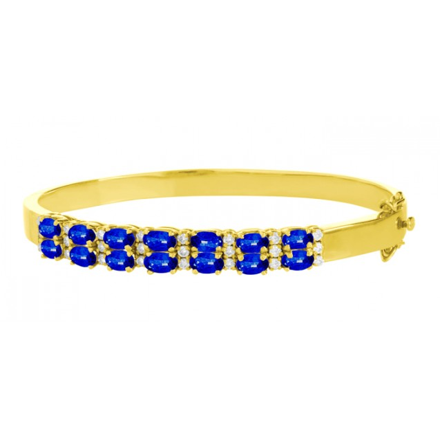 Blue Sapphire And Diamond Bangles made in 18k Yellow Gold ( 3.15cts Bs)