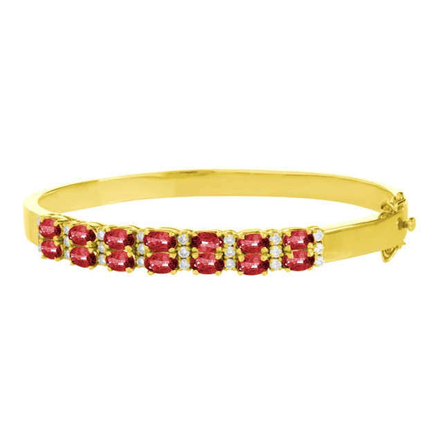 Burmese Ruby And Diamond Bangles made in 18k Yellow Gold ( 3.15cts Ruby)