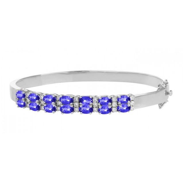 Tanzanite And Diamond Bangles  made in 18k White Gold ( 3.15cts Tz)