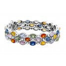 Multi color And Diamond Bracelet made in 18k White Gold