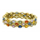 Multi color And Diamond Bracelet made in 18k Yellow Gold