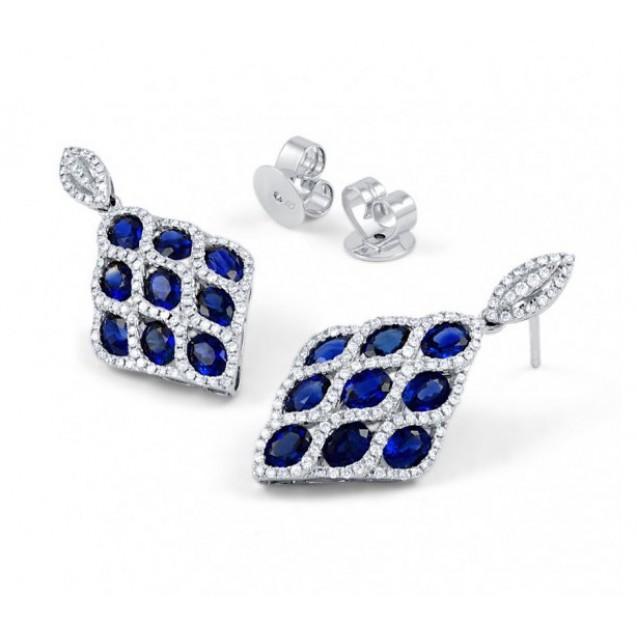 Vogue Blue Sapphire Diamond  Earrings In 14k White Gold (1ct BS )