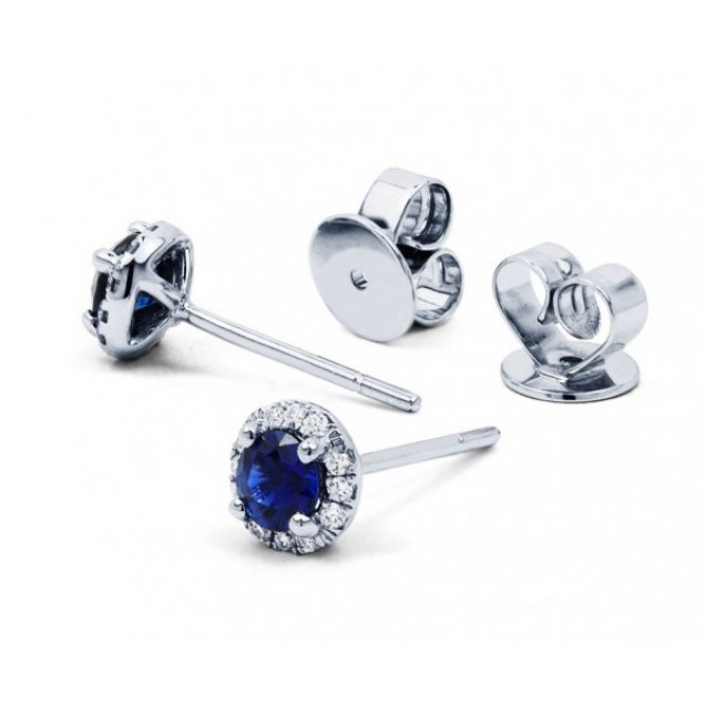 Blue Sapphire Diamond  Earrings In 14k White Gold (0.68ct BS )