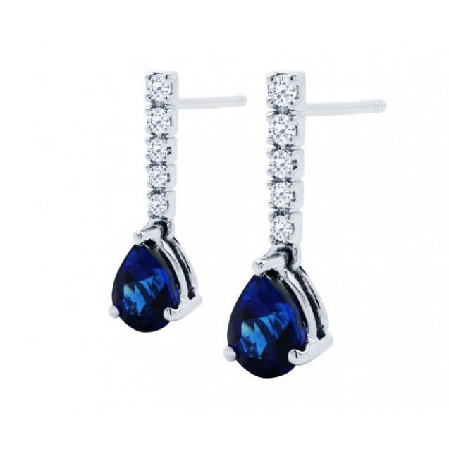 Blue Sapphire And Diamond  Earrings In 14k White Gold (2.20Ct Bs)
