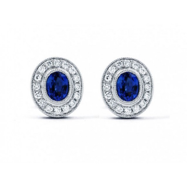 Blue Sapphire Diamond  Earring made in14k White Gold (2ct Bs)