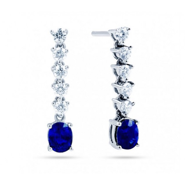 Blue Sapphire And Diamond Earring made in 14K White Gold ( 1ct Bs)